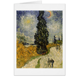 Route de Vincent van Gogh | avec des cyprès, 1890 Carte De Vœux