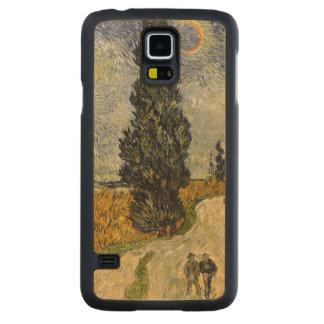 Route de Vincent van Gogh | avec des cyprès, 1890 Coque Galaxy S5 En Érable