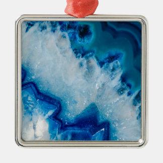 Royal agate de bleu ornement carré argenté