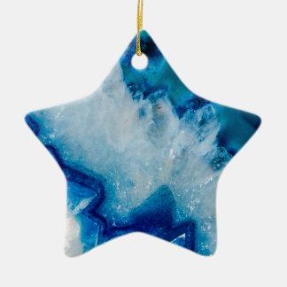 Royal agate de bleu ornement étoile en céramique
