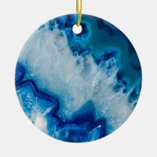 Royal agate de bleu ornement rond en céramique