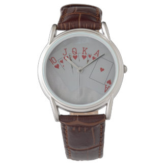 Royal_Heart_Flush_Poker_Mens_Brown_Leather_Watch Montres Bracelet