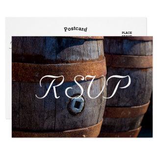 RSVP - Baril de vin rustique de vignoble de pays Carton D'invitation 8,89 Cm X 12,70 Cm