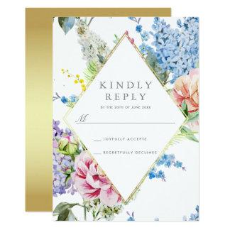 RSVP fleur bleue et pourpre de | d'aquarelle avec Carton D'invitation 12,7 Cm X 17,78 Cm