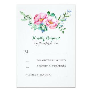rsvp floral de mariage de bouquet d'aquarelle carton d'invitation 8,89 cm x 12,70 cm