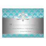 RSVP l'épousant élégant Fleur De Lis Blue Carton D'invitation 8,89 Cm X 12,70 Cm