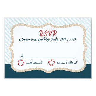 RSVP l'épousant nautique Carton D'invitation 8,89 Cm X 12,70 Cm