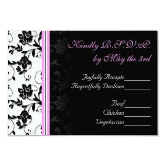 RSVP l'épousant noir, blanc, et rose floral Faire-part Personnalisé
