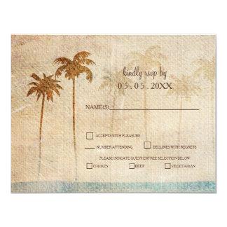 Rsvp rustique de mariage de plage de palmiers carton d'invitation 10,79 cm x 13,97 cm