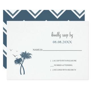 Rsvp tropical bleu de mariage de palmier carton d'invitation 8,89 cm x 12,70 cm
