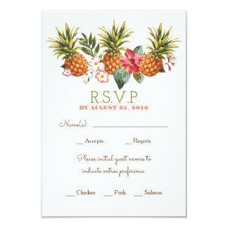 rsvp tropical de mariage de plage d'ananas carton d'invitation 8,89 cm x 12,70 cm