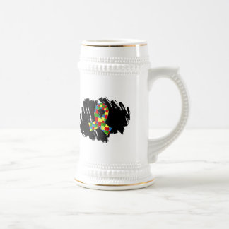 Ruban 1,1 de puzzle d'autisme avec le griffonnage tasse à café