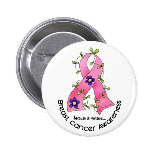Ruban 1 de fleur de CANCER DU SEIN Pin's