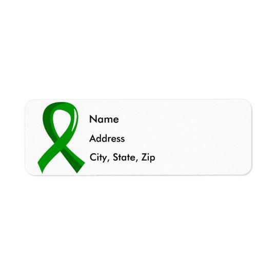 Ruban 3 de vert de santé mentale étiquette d'adresse retour