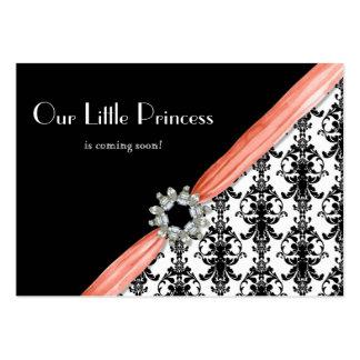 Ruban blanc de damassé de bijou de noir vintage de carte de visite grand format