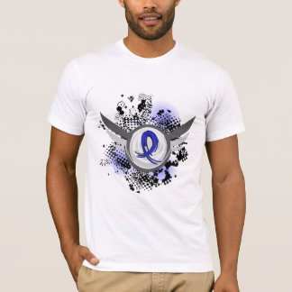 Ruban bleu avec la maladie de Huntington d'ailes T-shirt