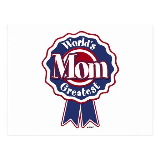 Ruban bleu de la plus grande maman des mondes carte postale