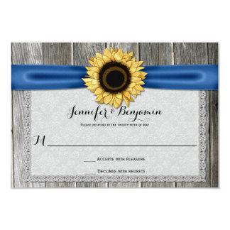 Ruban bleu en bois RSVP de grange rustique de Carton D'invitation 8,89 Cm X 12,70 Cm