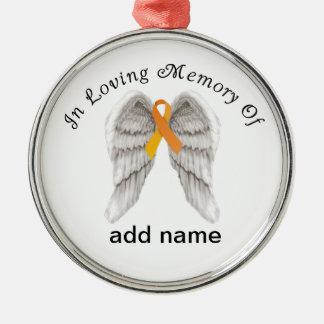 Ruban commémoratif d'orange d'ornement de Noël Ornement Rond Argenté