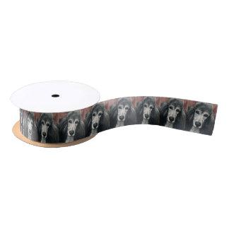 Ruban d'art de chien de caniche d'étalon argent ruban en satin