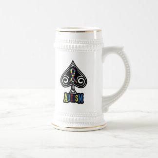 Ruban d'autisme - bière Stein - édition de pelles Chope À Bière