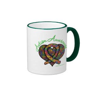 Ruban de coeur de mosaïque d'autisme tasse à café