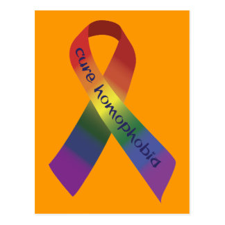 Ruban de conscience de homophobie de traitement carte postale
