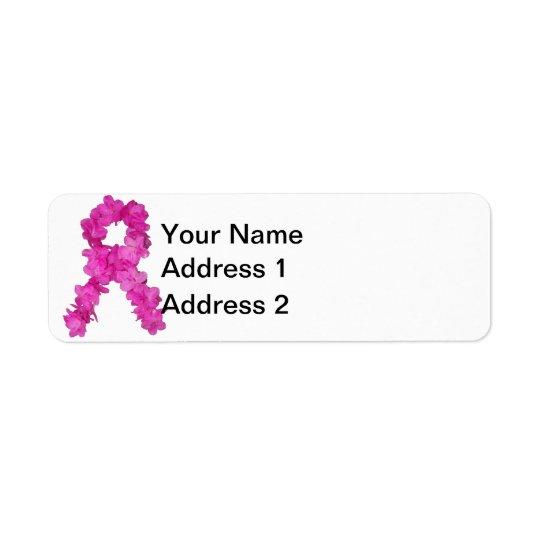 Ruban de fleur de conscience de cancer du sein étiquette d'adresse retour