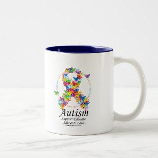 Ruban de papillon d'autisme mug bicolore