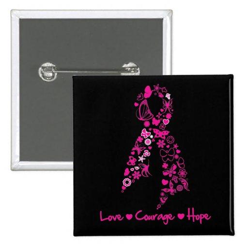 Ruban de papillon d'espoir de courage d'amour - ca pin's avec agrafe