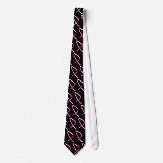 Ruban de rose de conscience de cancer du sein cravate