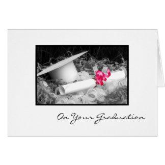 Ruban de rose de diplôme de félicitations cartes