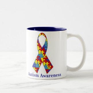 Ruban de sensibilisation sur l'autisme mug bicolore
