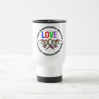 Ruban de tribal d'amour d'autisme tasse à café