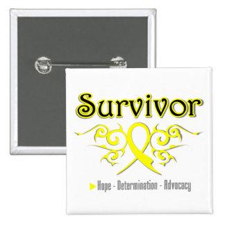 Ruban de tribal de survivant de sarcome badge carré 5 cm