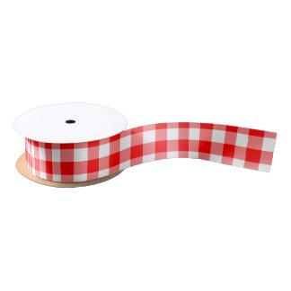 Ruban En Satin Et blanc plaid vérifié par guingan rouge