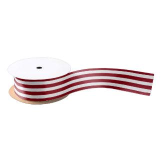 Ruban En Satin Étroit blanc rouge de rayure de Noël
