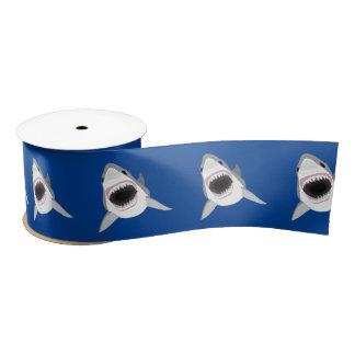 Ruban En Satin Grand requin blanc avec les mâchoires ouvertes