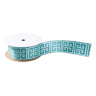 Ruban En Satin Motif principal grec turquoise de paon