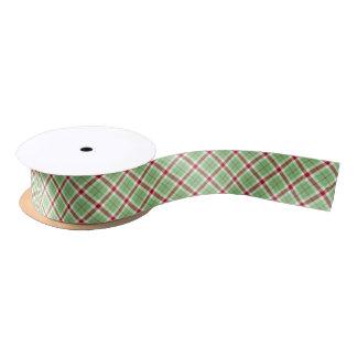 Ruban En Satin Motif rouge et vert de ruban de tartan de Noël de