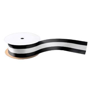 Ruban En Satin (Noir et blanc | horizontal) personnalisable rayé