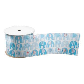 Ruban En Satin Ruban - éléphants bleus