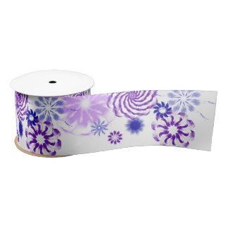 Ruban En Satin Ruban large pourpre et bleu floral
