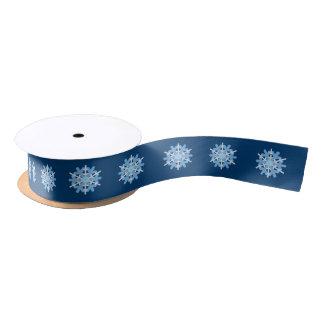 Ruban En Satin Ruban naturel de beauté d'hiver blanc bleu de