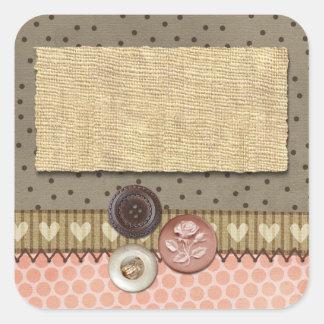 Ruban et boutons piqués rustiques sur la couture sticker carré