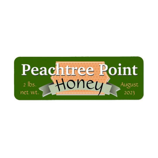 Ruban et pot de miel personnalisé par bannière étiquette d'adresse retour