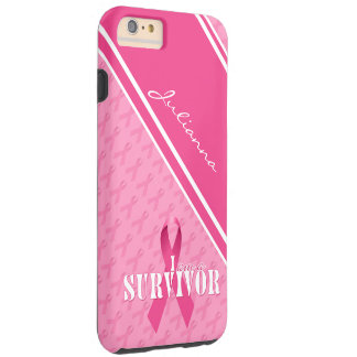 Ruban fier de rose de survivant de cancer du sein coque iPhone 6 plus tough