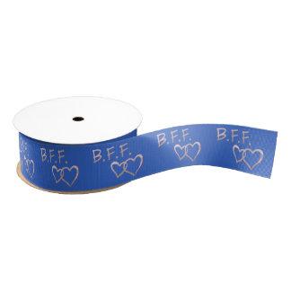 Ruban Gros-grain B F F avec les coeurs liés sur le bleu profond