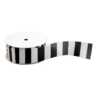 Ruban Gros-grain Rayures horizontales noires et blanches