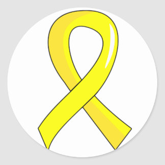 Ruban jaune 3 d'endométriose sticker rond